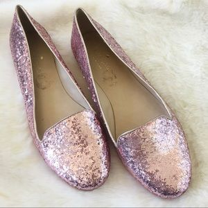 Kate Spade Pink Glitter Flat Loafers